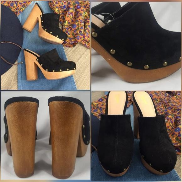 11abe747c0c Black Suede Wooden Platform Clog Heels